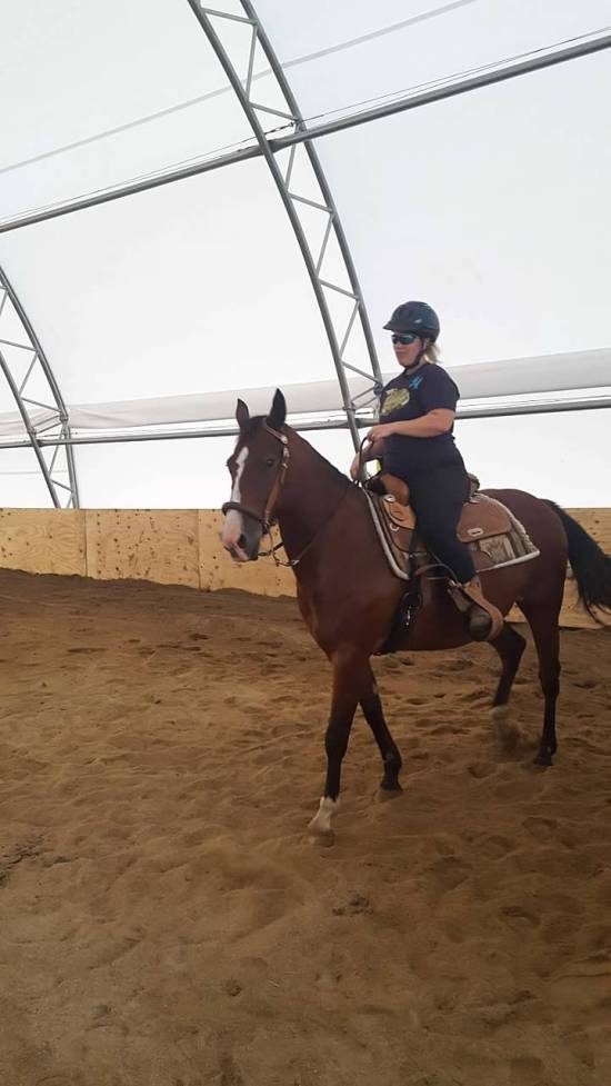 rachael riding in arena first time